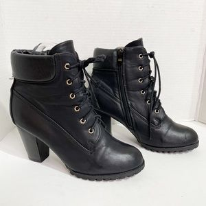 Rugged Stacked High Heel Ankle Boots Black 10 US